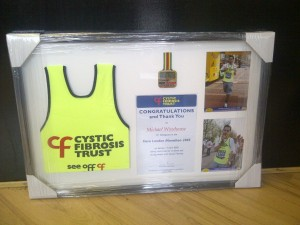 Framing Marathon Medals, Vest and Certificate - finished frame